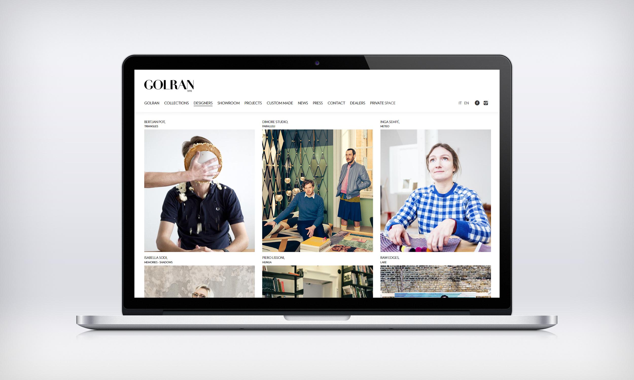 Direction Artistique – Site Web Golran – Designers page – FR